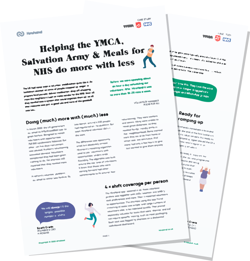 YMCA, Salvation Army & NHS case study mock-up